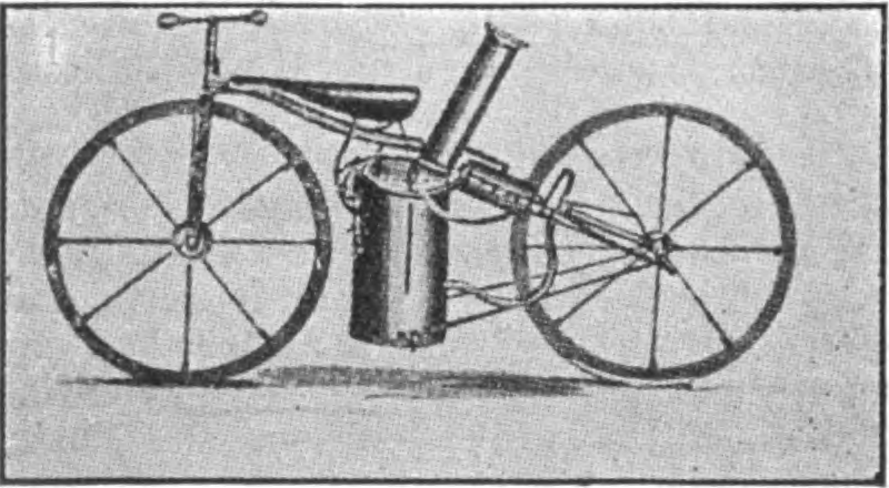 1867 – First 2 cylinder steam engine powered by coal motorcycle