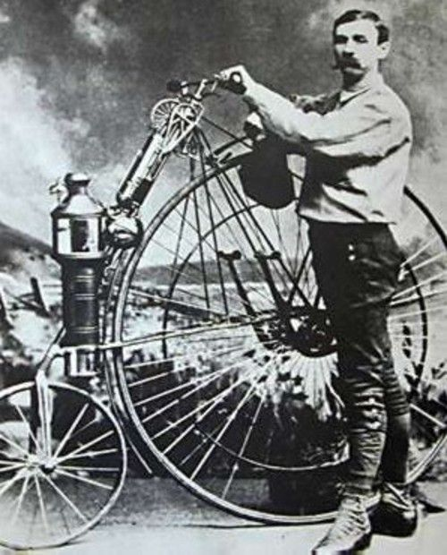 1871 – First steam single cylinder motorcycle invented.